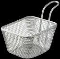 Silver Rectangular Stainless Steel Chip Basket, Model Name/number: St-0752
