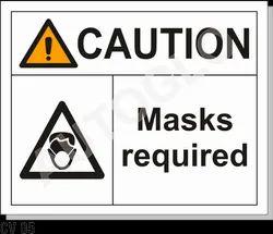 Corona Virus Signage: Caution Mask Required