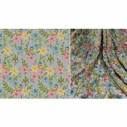 44 Inch Embroidered Printed Tabby Silk Satin Fabric, Gsm: 100-150