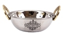 """Silver 1 Piece Steel Hammered Design Kadhai With Brass Handle - 1000 Ml, For Home, Size: 2.5"""" X 7.8"""""""