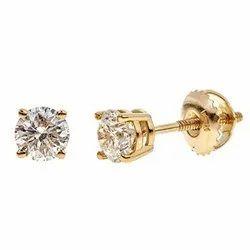 18kt Real Diamonds Diamond Studs, 50 Cents
