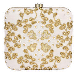 Zari Embroidery Casual Party Beaded Clutch Box