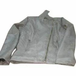Full Sleeve Plain Ladies Grey Leather Jacket, Size: M-3XL