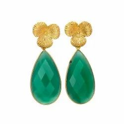 Green Onyx Earring With Flower Stud