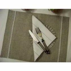 Cotton Handmade Dining Mat and Napkin Set, Mat Size: 12x16 Inch
