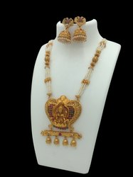 Matte Finish Brass Temple Jewellery Set Collection
