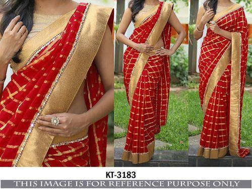 198e810a96b4a4 Beautiful Red Orange Combination Designer Saree With Blouse - Nardev ...