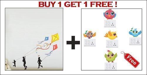 cf8b4d8ec63 Amazon Brand - Decor Kafe Kite Flying Kids Wall Stickers PVC Vinyl ...