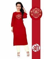 Casual Wear Ladies Red Printed Cotton Kurti