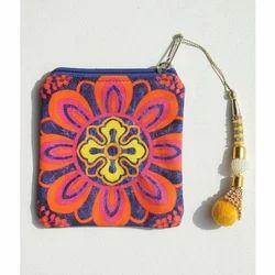 Radiant Flower Motif Canvas Coin Purse