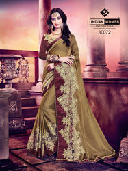 Indian Women Brown Georgette Saree