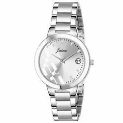 Jainx Silver Date Function Analog Watch For Women - JW653