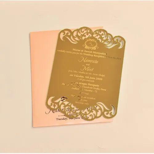 Golden Color Acrylic Invitation Card