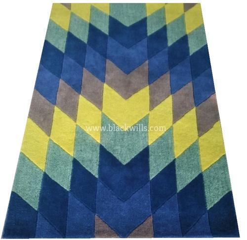 100 Indian Wool Cut Pile And High Cut And Low Cut Diamond Pattern