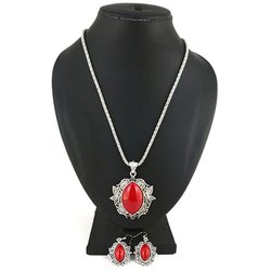 Oxidized Red Stone Necklace with Earrings Set