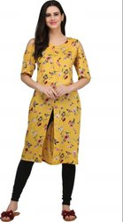 Woman Stitched Ladies Yellow Printed Rayon Kurti