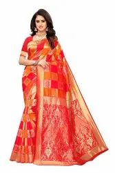 Banarasi Rich Pallu Party Wear Pink Yellow Saree With Blouse Piece