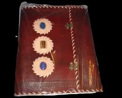 Leather Stone Journal with Steampunk Lock