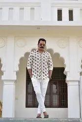 Collar Neck Nahar Magra 100% Cotton Handmade Printed Vintage Mens Shirt
