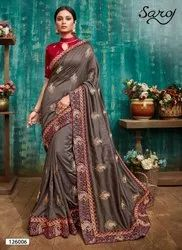 Partywear designer vichitra silk saree