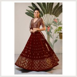 Unstitched Machine Embroidered Worked Net Fabric Floor Length Wedding Wear Lehengha Choli, Dry Wash Only, 15-30