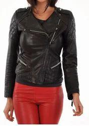 Women Real Lambskin Leather Biker Jacket KW023