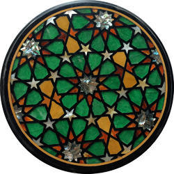Pietra Dura Inlaid Marble Round Shape Table Top