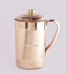 Plain Round Pure Copper Water Jug Pitcher with Lid - 1500mL