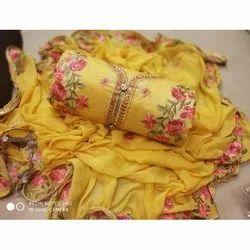 Rajnandini Yellow Semi Modal Embellished Semi-Stitched Dress Material