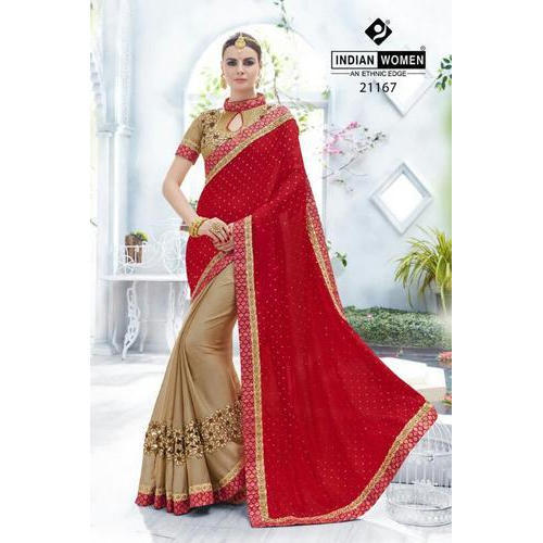 Georgette Party Wear Elegant Indian Women Designer Saree, With Blouse Piece
