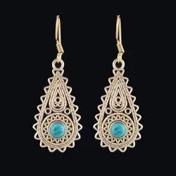 Turquoise Bohemian Women Long Dangle Brass Earrings