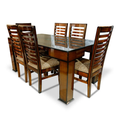 2063d18243e Brown Solid Wooden 6 Seater Dining Table