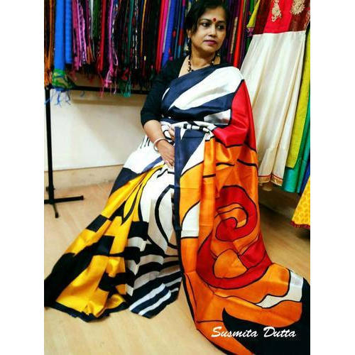 0c50f94e4c Labanya Handloom Cotton Silk Saree - Pure Silk Hand Painted Saree ...