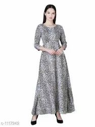 Casual Printed Rudraaksha Floral Maxi Dress for Women