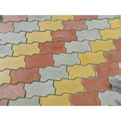 Yellow and Red Cement Zigzag Paver Block
