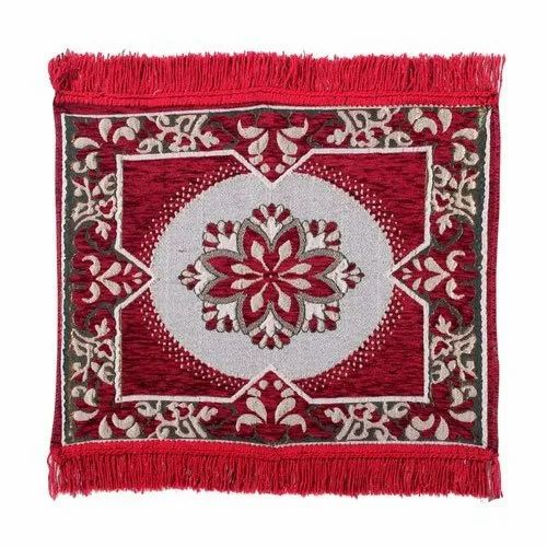 Cotton Red Printed Prayer Carpet, Size: 4x4 Feet