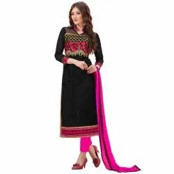 Black Colored Heavy Chanderi Unstitched Salwar suit
