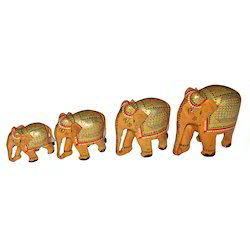 Wooden Elephant With Painting Work