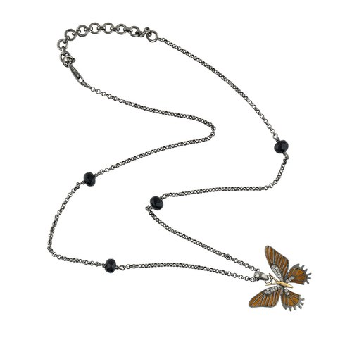 925 Sterling Silver Onyx Butterfly Pendant Necklace Jewelry