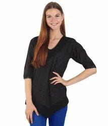 Cotton 3/4th Sleeve Black Designer Tops