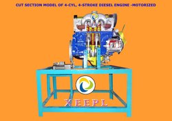 Cut Section Model of 4-cylinder, 4-stroke Diesel Engine Motorized