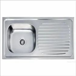 Mirror Finish Single Bowl Kitchen Sink  With Drainboard