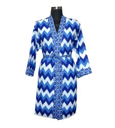 Indigo Blue Cotton Bathrobe