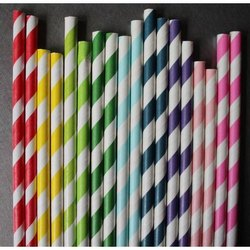 Colored Striped Paper Straw