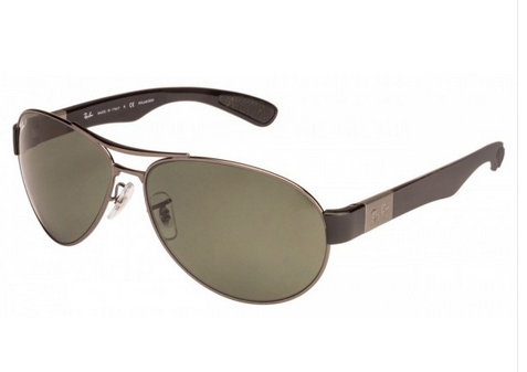 c749cb24e7 Ray-Ban Male RB3509 004 9A Green Aviator Polarized Sunglasses