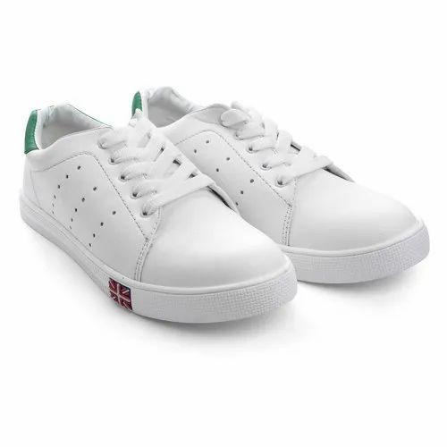 Sneakers Mens White Plain Sneaker Shoes