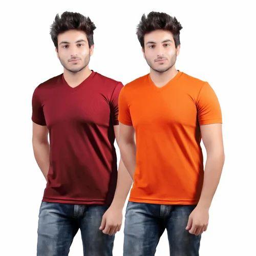 5d2e10b7 Mens Plain Half Sleeves V-Neck T-Shirts, Rs 135 /piece, DS WORLD ...