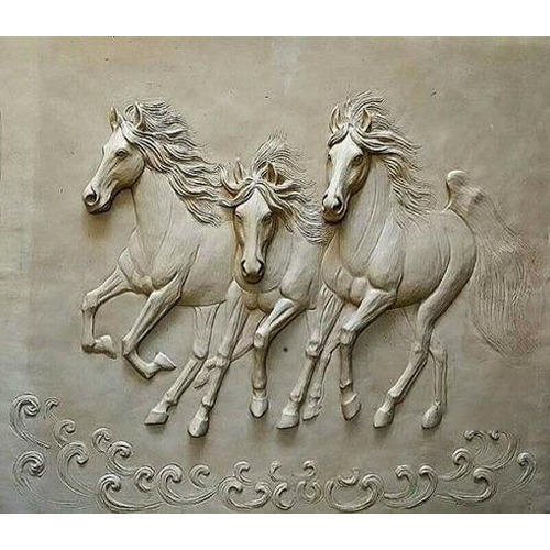 Fiber White And Grey Running Horse Mural Rs 7000 Piece