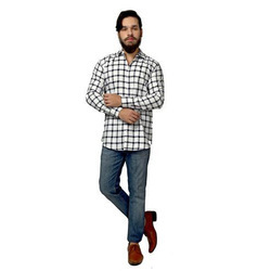 PORTTRAIT 40 and 42 White & Blue Checkered Slim Fit Casual Shirt