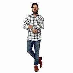 PORTTRAIT 40 and 42 White & Blue Checkered Slim Fit Casual Shirt